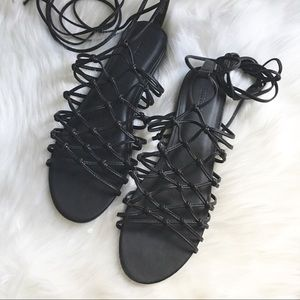 Black strappy lace up sandals
